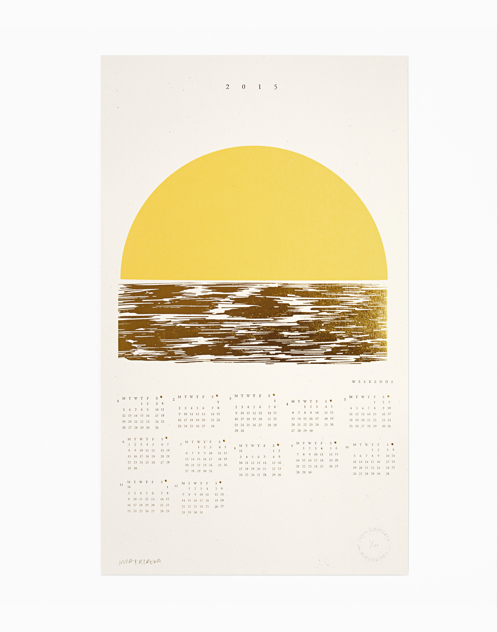 Gold Foil Golden Weekends Calendar, Julia Kostreva