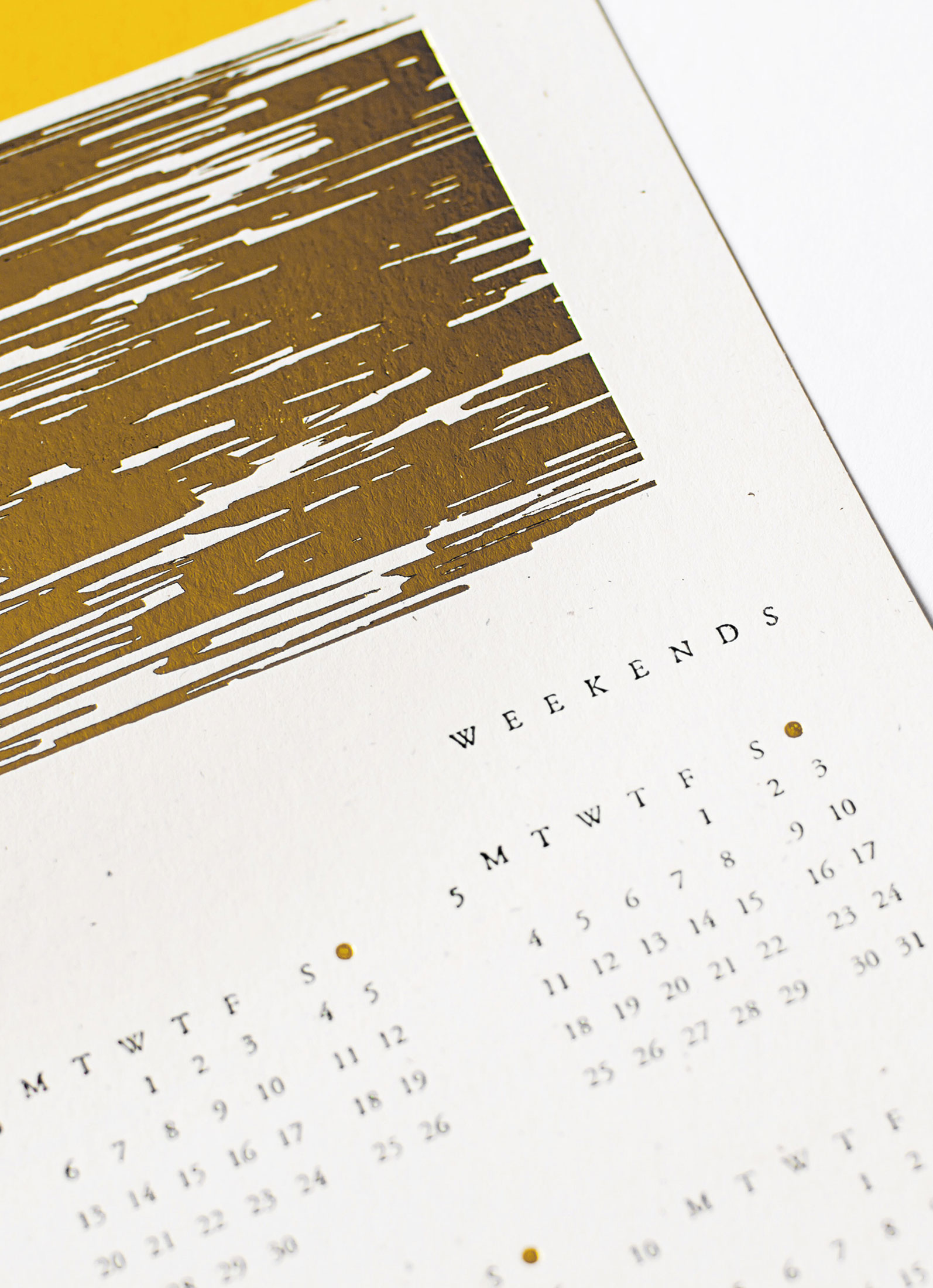 Golden Weekends letterpress calendar, Julia Kostreva