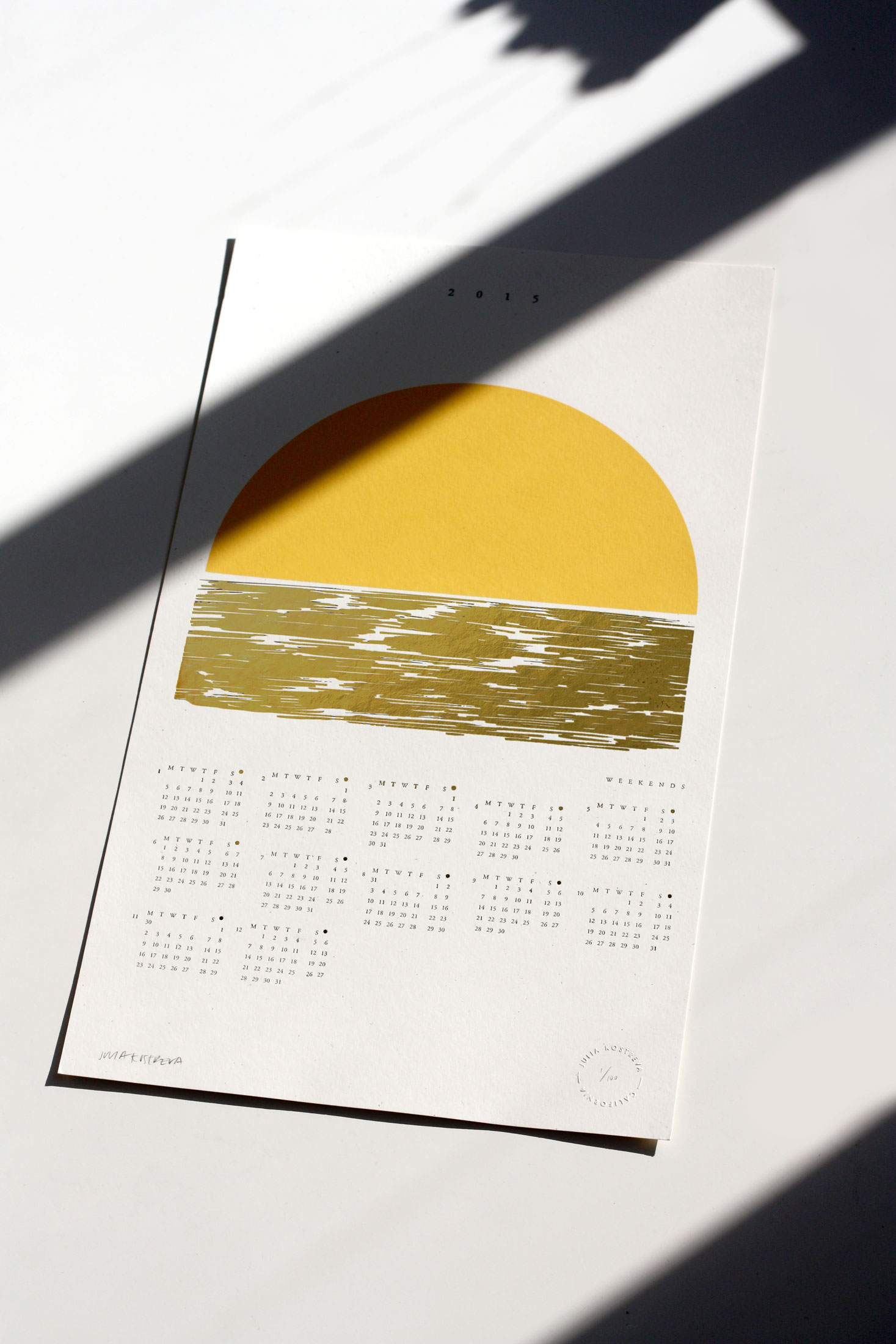 Golden Weekends Calendar, Julia Kostreva Blog